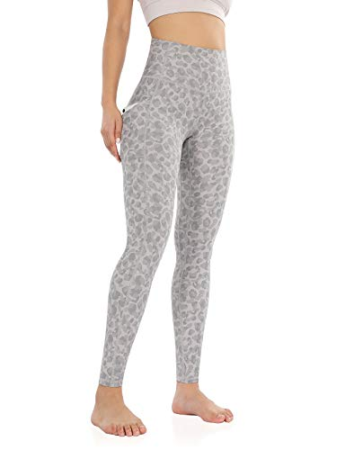 ODODOS Women's Out Pockets High Waisted Pattern Yoga Leggings, Workout Sports Running Athletic Pattern Leggings, Full-Length, Grey Leopard, X-Small