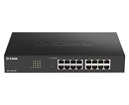 D-Link DGS-1100-16V2 16-Port Gigabit Smart Switch (10/100/1000 Mbit/S, Einfache Plug & PLAY-Installation, lüfterlos)