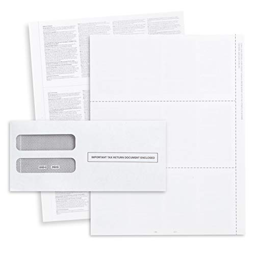 Blank 2019 W2 3 Up Tax Forms, 50 Employee Sets, QuickBooks Online Compatible, Ideal for E-Filing, Works with Laser or Inkjet Printers, 50 Sheets and 50 Self Seal Envelopes