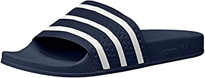 adidas Originals Men's Adilette Shower Slides Sandals, Adidas Blue/White/Adidas Blue, 10