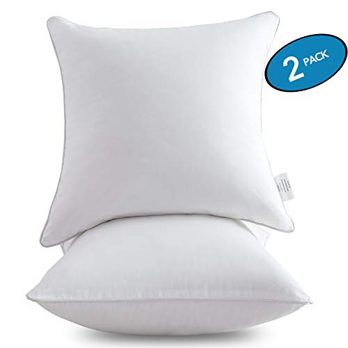 Oubonun 18 x 18 Pillow Inserts (Set of 2) - Throw Pillow Inserts with 100% Cotton Cover - 18 Inch Square Interior Sofa Pillow Inserts - Decorative Pillow Insert Pair - White Couch Pillow