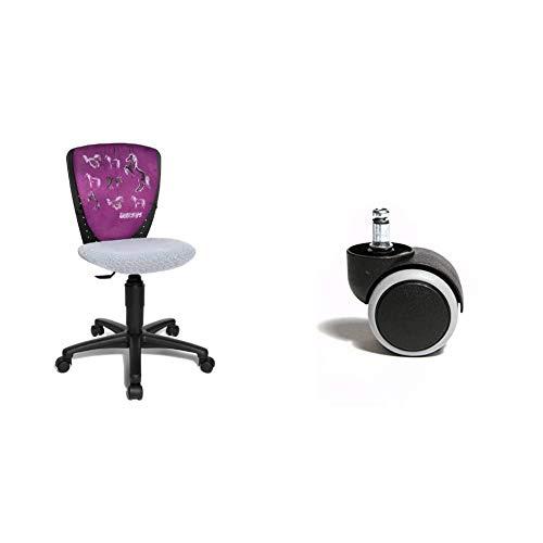 Topstar Nic 70570JD1 Pferde Kinderschreibtischstuhl, schwarz/weiß & 6991 Rollenset, Hartbodenrollen für Bürostuhl, Rollenset = 5 Rollen für Schreibtischstuhl, schwarz, Stiftgröße 10mm Durchmesser 50mm