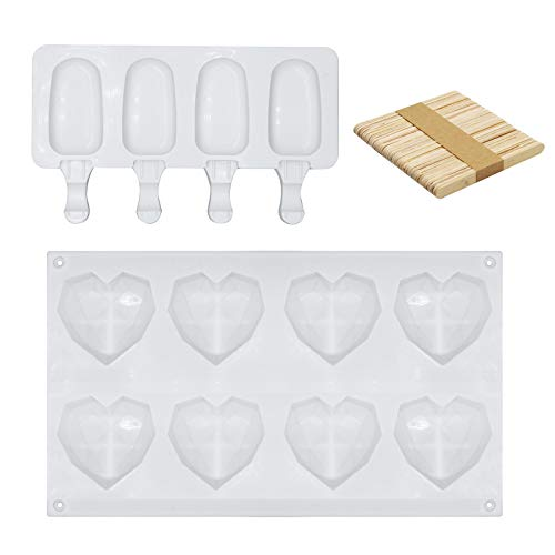 8 Cup Diamond Heart Shaped Cake Mold Tray Nonstick Easy Release 4 Cavities Homemade Popsicle Maker Silicone Popsicle Molds oval Ice Pop Molds with 50 Pieces Wooden Sticks for DIY Ice Cream