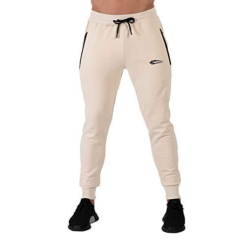 SMILODOX Herren Jogginghose Nightfall | Trainingshose | Sport & Gym | Fitness | Freizeit | Sporthose | Jogger | Hose lang | Trends, Farbe:Beige, Größe:XXXL