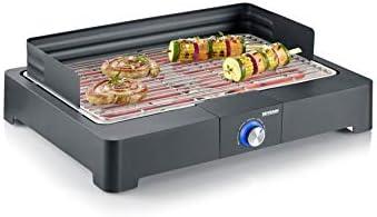 Severin PG 8560, Barbecue – Grill, Temperatura regolabile fino a 250°, Safe Touch, Manopola con luce LED, Griglia in...