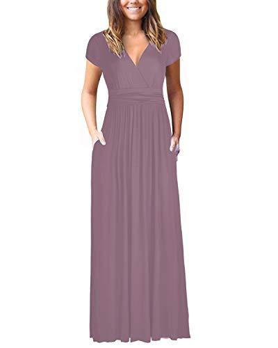 OUGES Womens Short Sleeve V-Neck Wrap Waist Maxi Dress(Pink394,XL)