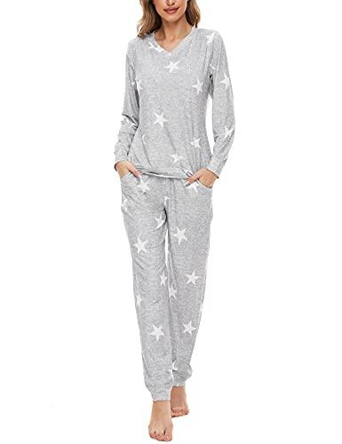 SWOMOG Womens Pajama Sets Two-Piece PJs V Neck Sleepwear Comfy Loungewear Long Sleeve Top with Pants