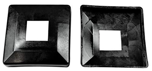 SN-TEC Abdeck Rosetten Eckig für Geländer | Rohre | Heizungen usw, Schwarz/Weiß/Grau (10 Stück) (Aussen 60x60mm / Innen 20x20mm, Schwarz)