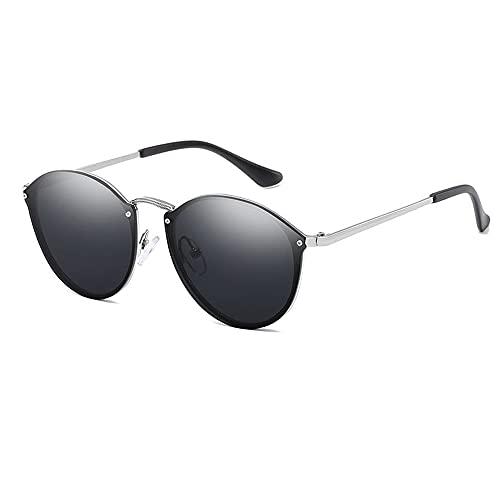 TTWLJJ Gafas de Sol Hombre Mujere protección UV400 Gafas conducción Gafas Gafas de Sol Aire Libre Deportes Golf Ciclismo Pesca Senderismo,Plata