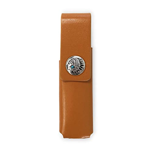 IQOS 3 MULTI 専用 アイコス3 コンチョ 本革 マルチ ケース (ライトブラウン/ネイティブコンチョ03) iQOSケース シンプル 無地 保護 カバー 収納 カバー 全4色 電子たばこ 革