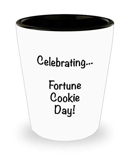Fortune Cookie Day novelty ceramic 1.5 oz shotglasses weird funny holiday gifts, Shot glass gag gift going away gift for coworker