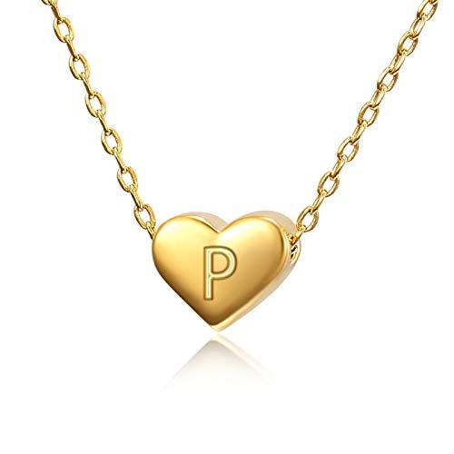 Collar con letra inicial para mujer, collares para adolescentes y niñas, oro de 18 quilates, collar de gargantilla con bonita caja de regalo dorado