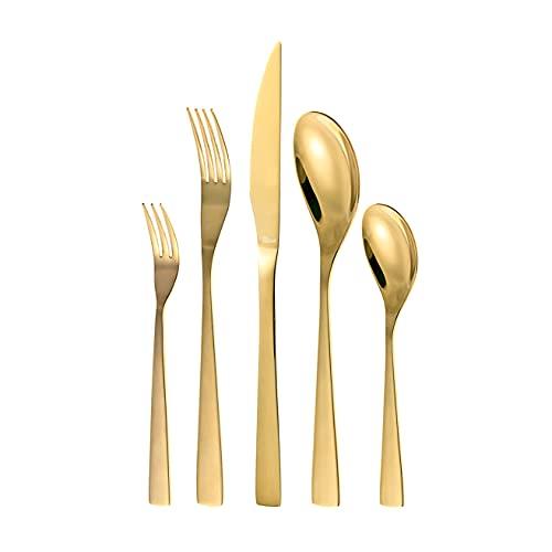 Otto Koning - Berlin - Set di posate 30 pezzi in acciaio inossidabile placcato in oro titanio e lucido, spessore 4 mm. e coltello da bistecca. Un moderno servizio da tavola per 6 commensali