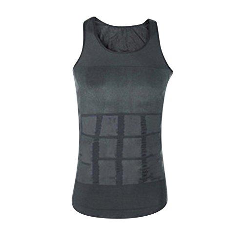 Herren Bauchweg Bodyshaper Slimming T Shirt Miederbody Shapewear Figurformer für Männer Grau M