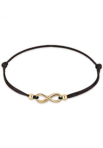 Elli Damen Schmuck Echtschmuck Armband Strangarmband Infinity Textil-Armband Blogger Sterling Silber 925 Vergoldet Länge 17 cm