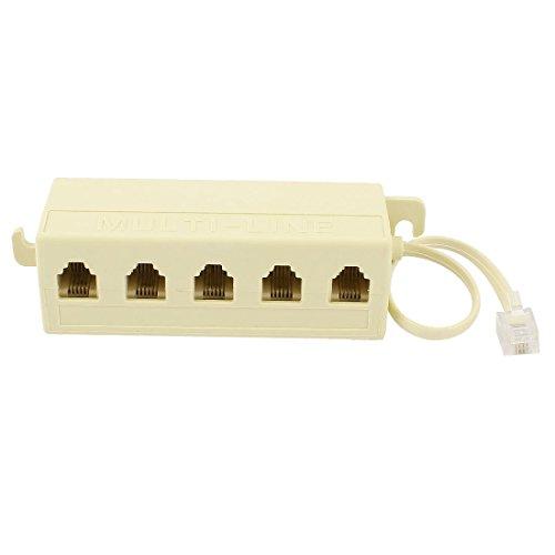 N/D 6P4C RJ11 - Cable divisor adaptador de línea telefónica modular de 5 vías