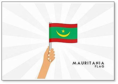 Kühlschrankmagnet, Motiv: menschliche Hände, die Mauretanien-Flagge halten, klassisch