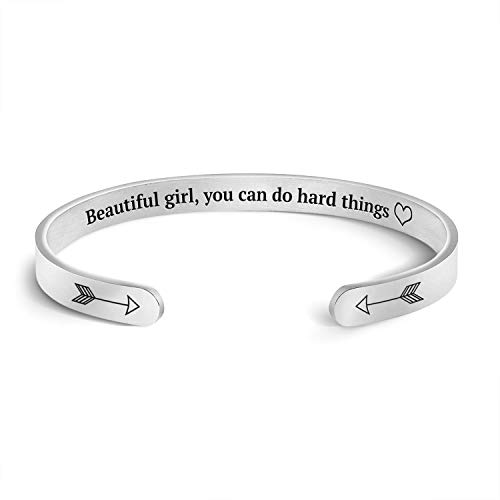 Mint & Lily Beautiful Girl You Can Do Hard Things Cuff Bracelet | Silver