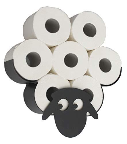 DanDiBo Toilettenpapierhalter Schaf Wand Schwarz Metall Toilettenrollenhalter Klopapierhalter WC Rollenhalter Ersatzrollenhalter Klorollenhalter