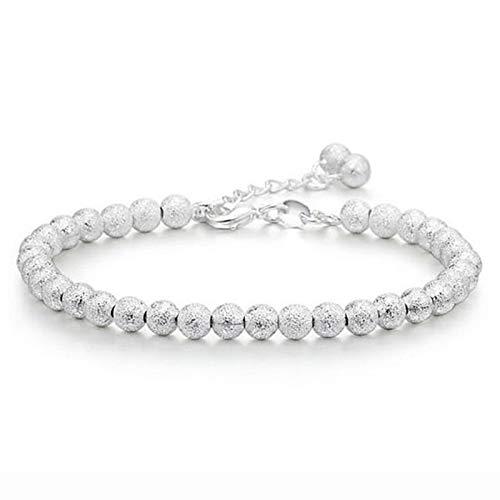 Jewellery Bracelets Bangle For Womens Silver Bead Bracelet Matte Wild Fashion Jewelry Jewelry Cute 17.5Cm