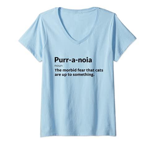 Mujer Purr-a-noia Purranoia Gato Pun Juego de Terror Halloween Camiseta Cuello V