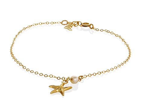Beach Anklet Starfish Pearl Gold Anklet Summer Foot Jewelry Anklet for women 8.5 Inches Length+extension
