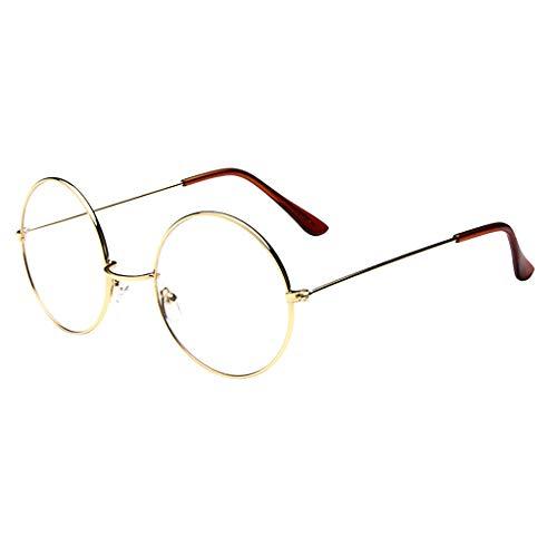 OHQ_Gafas De Sol Hombre Y Mujere Ronda Oval Moda Clear Lens Gafas Vintage Geek Nerd Retro Style Metal