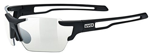 uvex Unisex– Erwachsene, sportstyle 803 small V Sportbrille, selbsttönend, schmale Passform, black mat/smoke, one size