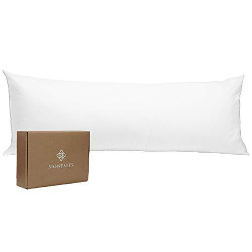 BIOWEAVES Funda de almohada 100% algodón orgánico para cuerpo fundas de almohada de 300 hilos, tela de satén suave, certificado GOTS con cierre de cierre – 53 x 137 cm, color blanco
