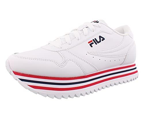 Fila Women's Orbit Stripe Sneaker, WHT/FNVY/FRED,8.5 M US