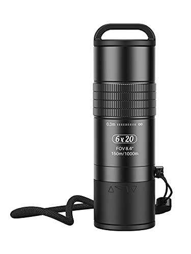 Telescopio monoculare APEXEL 6X20 HD, monoculare con 6x con clip universale per smartphone, teleobiettivo telefonico con prisma BAK4 per animali selvatici, birdwatching, concerti, campeggio, paesaggio