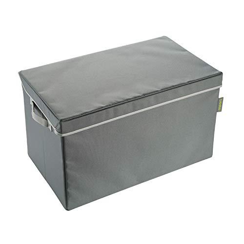 Meori Faltbare Aufbewahrungstruhe Large Granit Grau mit Lining in Candy Mint 60x35x36cm Polyester abwischbar Wäschekorb Kiste Faltbox Klappbox
