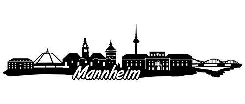 Samunshi® Mannheim Skyline Wandtattoo Sticker Aufkleber Wandaufkleber City Gedruckt Mannheim 120x29cm schwarz
