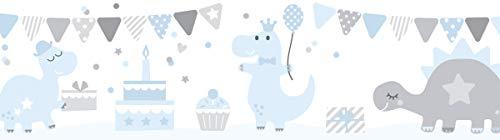 lovely label Bordüre selbstklebend DINOPARTY BLAU/GRAU - Wandbordüre Kinderzimmer/Babyzimmer mit Dinosauriern - Wandtattoo Schlafzimmer Mädchen und Junge – Wanddeko Baby/Kinder
