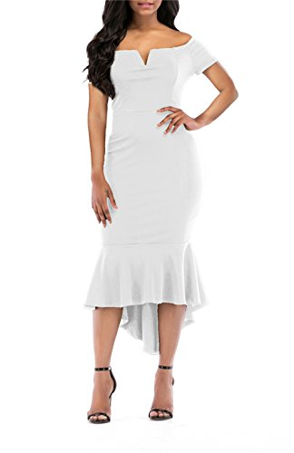 onlypuff Women's Evening Dress Below Knee Long Sleeves Plested Dress Pencil Dress White X-Large