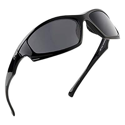 Calamus Turmoil Polarized Sport Sunglasses for Men and Women,Gloss Black Frame,Smoke Lens