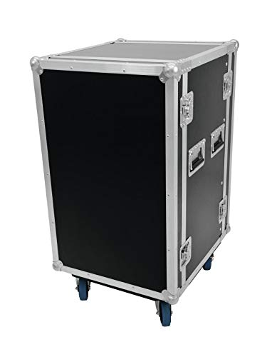Roadinger Rack Profi, 18 HE, 45 cm Einbautiefe   Mit 4 Rollen   PRO Flightcase für 483-mm-Geräte (19
