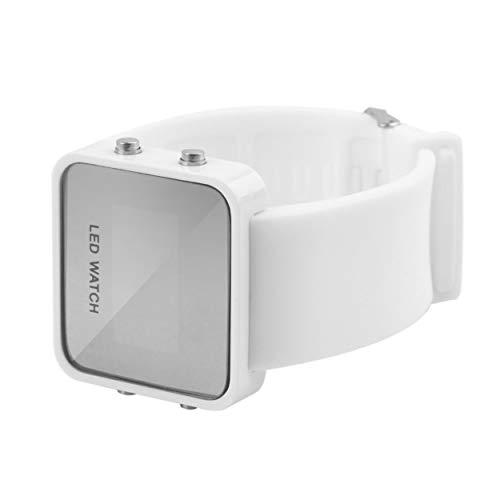 Tsubaya Relojes Deportivos para Hombre Reloj de Pulsera Multifuncional para Nadar al Aire Libre con LED Resistente al Agua 100m Impermeable Digital con autocalibrado - Blanco