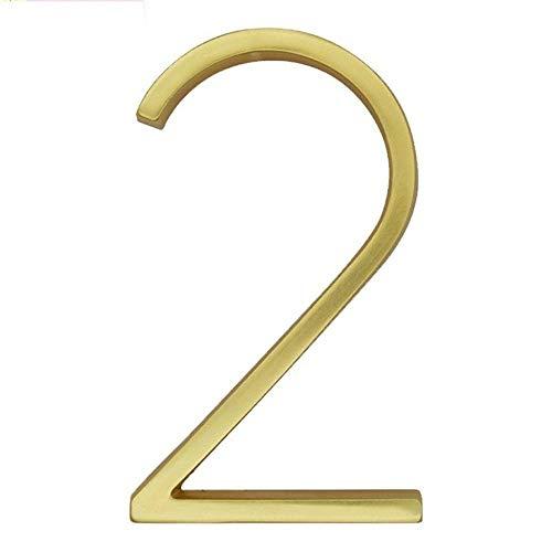 Engfgh 3D Golden Floating Moderne Hausnummer, Zink-Legierung Messing Matt Hausnummer, Verwendet for Hausnummer Digitalen Außenschild 5 Zoll (Color : 2)