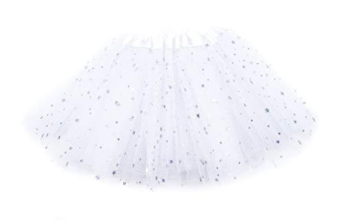 irresistible1 wit Fancy aankleden Tutu Rok met glanzende glitter sterren en elastische tailleband in kind grootte 38-71 cm