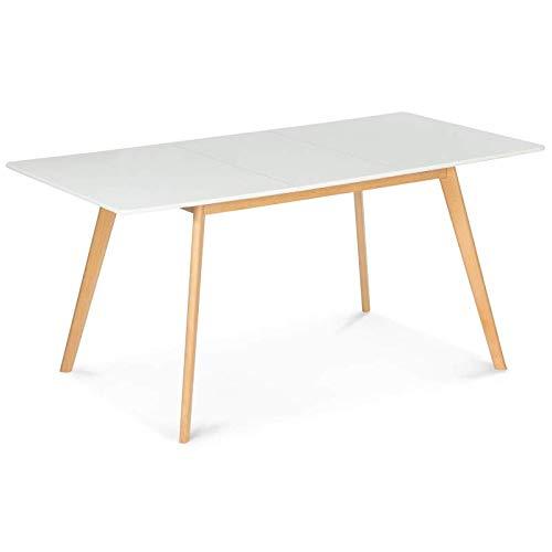 IDMarket - Table scandinave Extensible Inga 120-160 CM Blanche