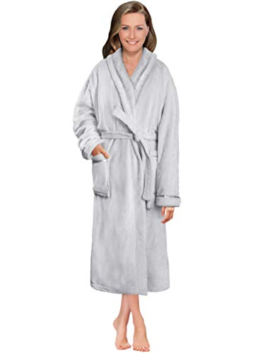 Women Fleece Robe with Satin Trim|Luxurious Soft Plush Bathrobe,Light Grey,S/M