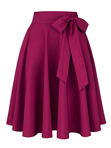 Women's Vintage Bow-Knot Skater Midi Skirt Casual High Waist Tie Wasit Pleated Skirt M