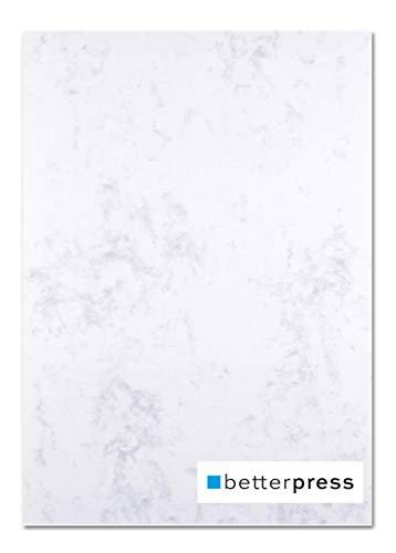 Betterpress® 50 Blatt Marmorpapier grau 200g, A4 - Beidseitig Marmorierter Karton in hochwertiger Qualität - Premium Marmorkarton ideal als Speisekarte, Zertifikat und Urkunde