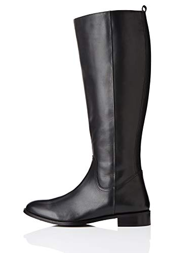 find. Flat Knee Length Leather Botas Altas, Negro Black, 38 EU