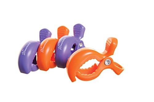 Dreambaby Clips pour Poussette (2 Violet/2 Orange, Lot de 4)