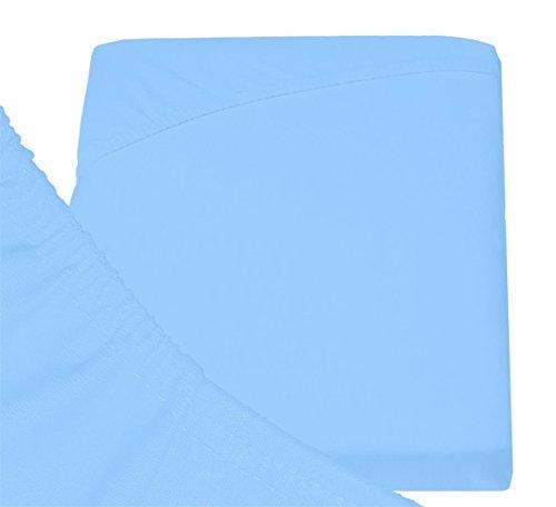 Double Jersey – Spannbettlaken 100% Baumwolle Jersey-Stretch bettlaken, Ultra Weich und Bügelfrei mit bis zu 30cm Stehghöhe, 160x200x30 Himmelblau - 6