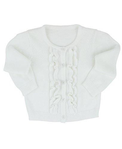 RuffleButts Baby/Toddler Girls White Ruffled Cardigan - 3-6m