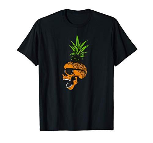 Calavera de piña con gafas, diseño tropical Camiseta
