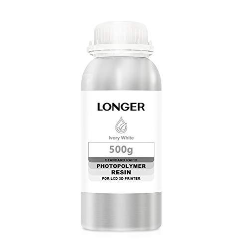 LONGER Resina per Stampante 3D Resina Fotopolimerizzante LCD Resina Fotopolimerica Rapida Standard per Stampa 3D DLP/LCD (Bianca, 500g)